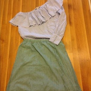 J Crew Green Gingham A Line Skirt